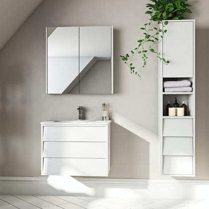 Mode Cooper white furniture package with vanity unit 600mm