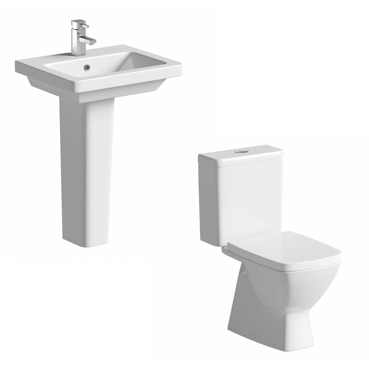 Mode Cooper cloakroom suite with full pedestal basin 550mm