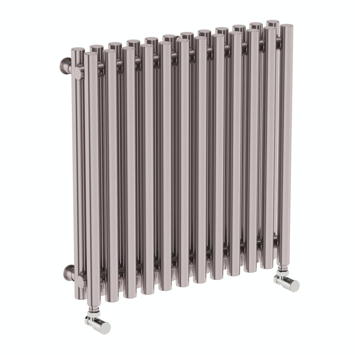 Terma Tune matt nickel double horizontal radiator 600 x 590