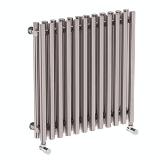 Tune matt nickel double horizontal radiator 600 x 590