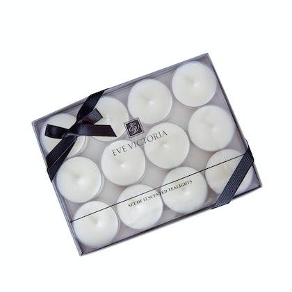 Eve Victoria Neroli, rose & sandalwood box of 12 tea lights