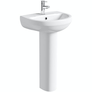 Oakley 500mm 1TH Basin & Full Pedestal
