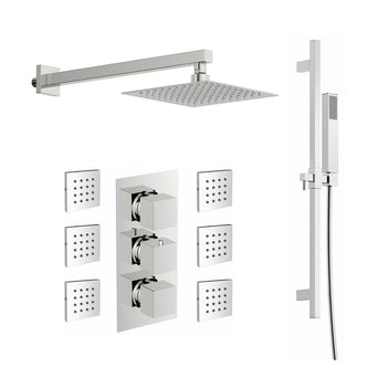Cubik Complete Thermostatic Wall Shower Set