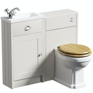 The Bath Co. Dulwich ivory cloakroom combination with oak effect seat