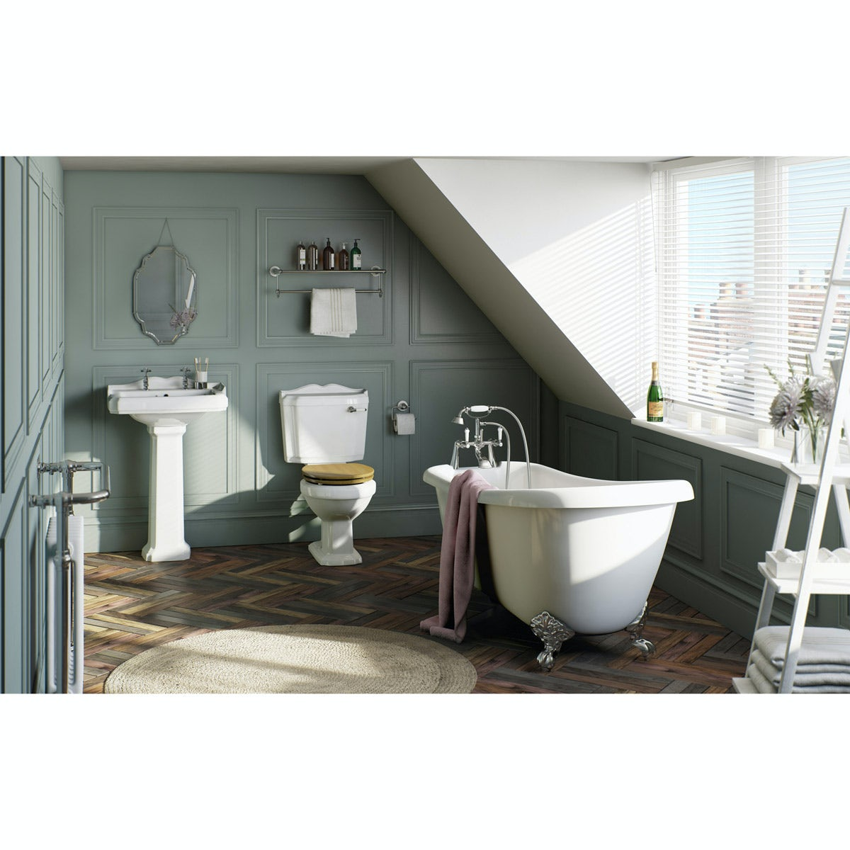 The Bath Co. Winchester oak bathroom suite with roll top bath and taps