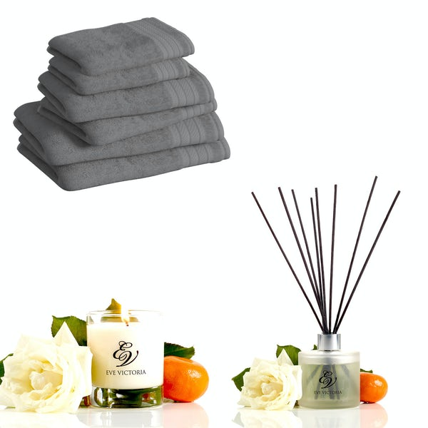 Supreme charcoal towel bale with candle and diffuser