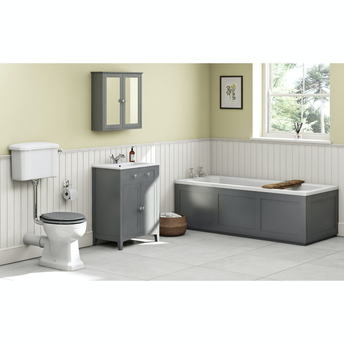 The Bath Co. Camberley satin grey low level furniture suite with straight bath 1700 x 700