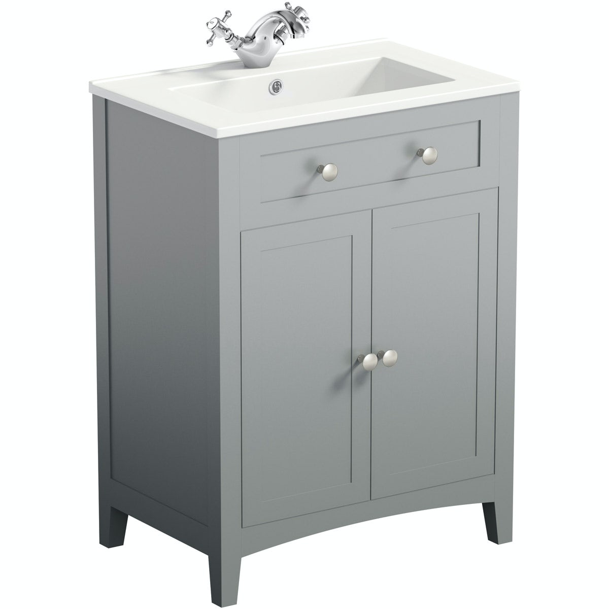 The Bath Co Camberley Satin Grey Vanity Unit With Basin 600mm