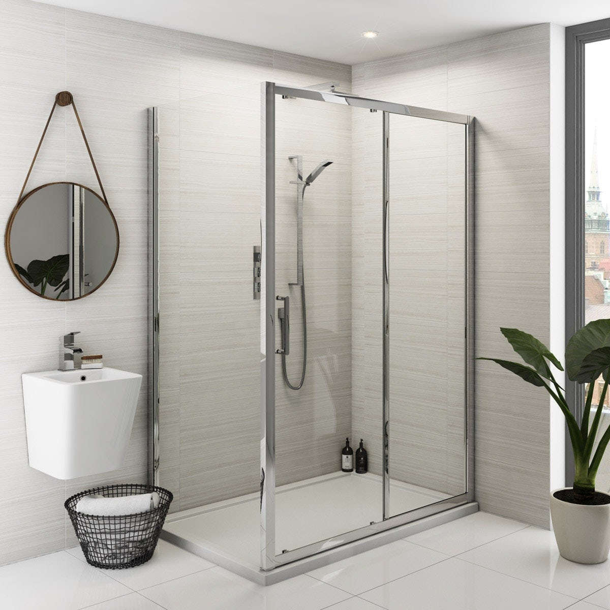 Bathroom suites with shower enclosures