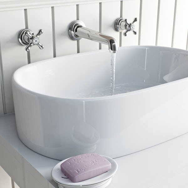 The Bath Co. Camberley wall mounted basin and bath shower mixer tap pack