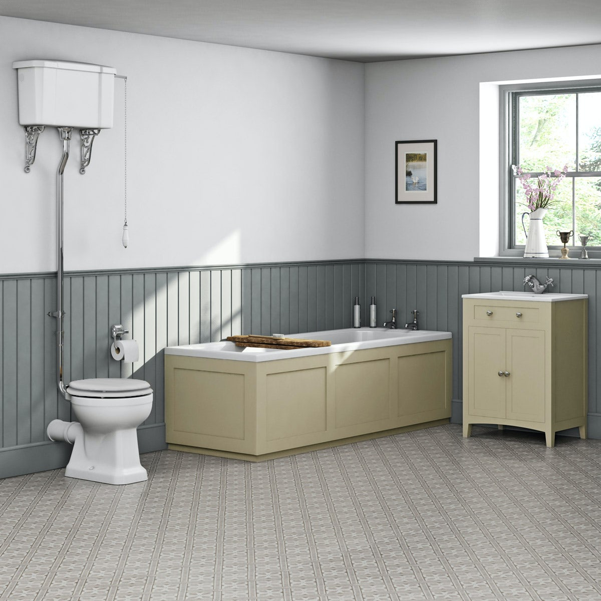 The Bath Co. Camberley satin ivory high level furniture suite with straight bath 1700 x 700