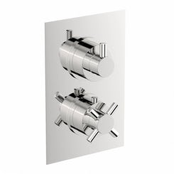 Alexa square twin thermostatic shower valve