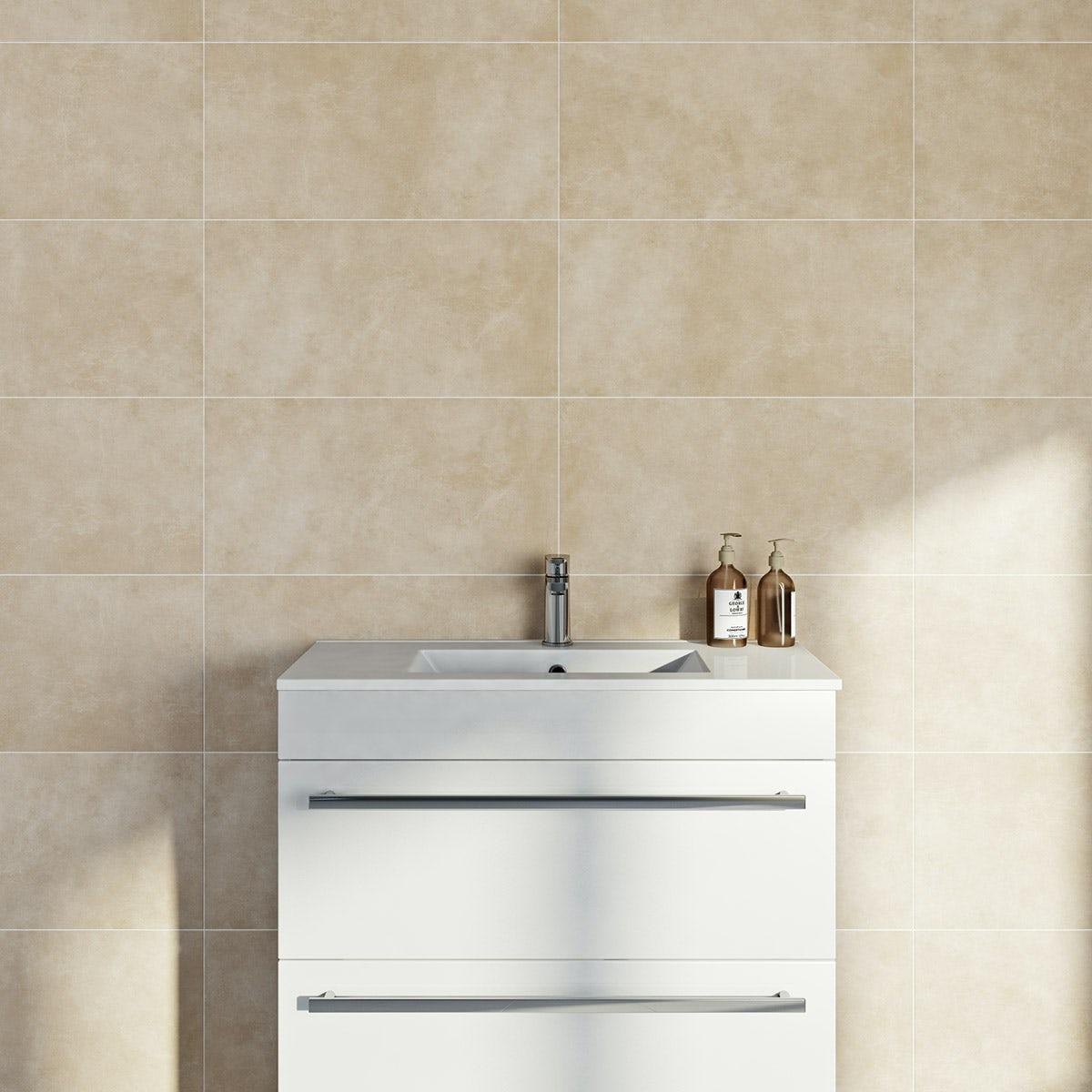 British Ceramic Tile Canvas sand matt tile 298mm x 598mm