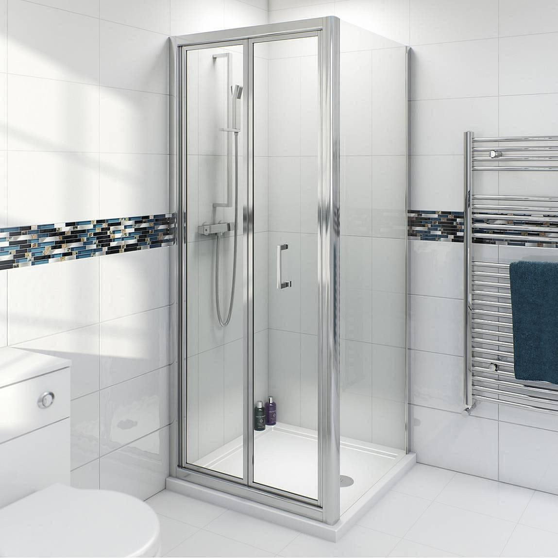 Clarity 4mm bifold shower enclosure with Simplite shower tray - Sold by Victoria Plum