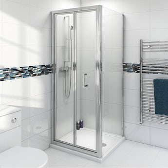 Clarity 4mm bifold shower enclosure with Simplite shower tray