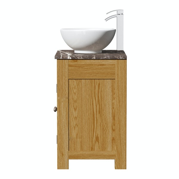 The Bath Co. Chester oak washstand with brown marble top and Eden basin 800mm
