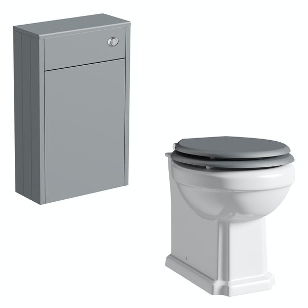 The Bath Co. Dulwich stone grey slimline back to wall unit and toilet with grey wooden seat
