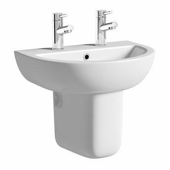Elena 2 tap hole semi pedestal basin with basin waste