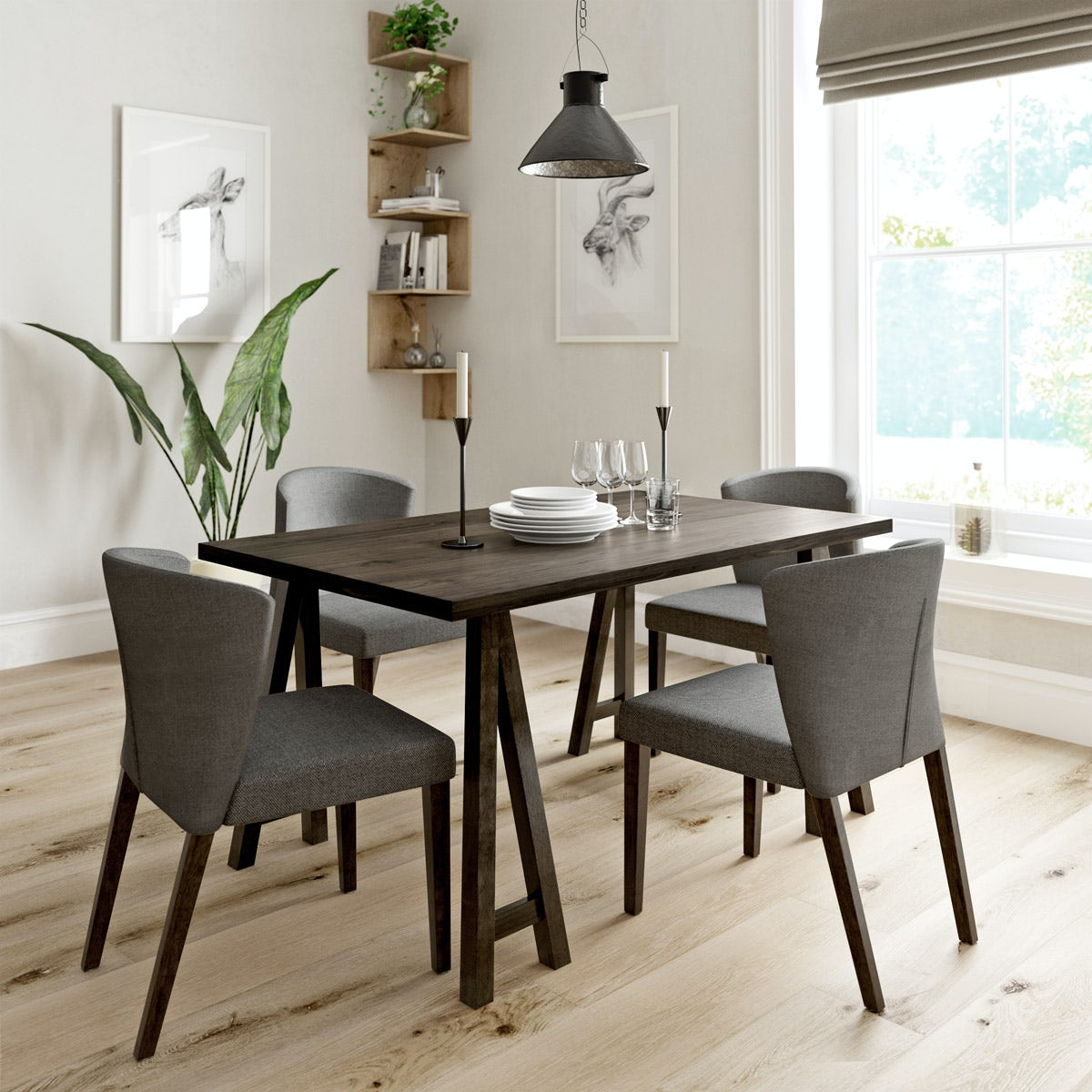 Hudson Walnut Table with 4x Hudson grey chairs