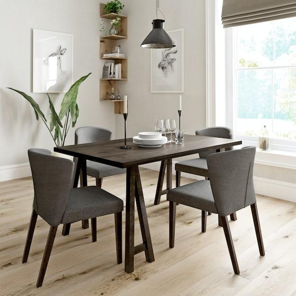 Hudson Walnut Table with 4x Hudson grey chairs