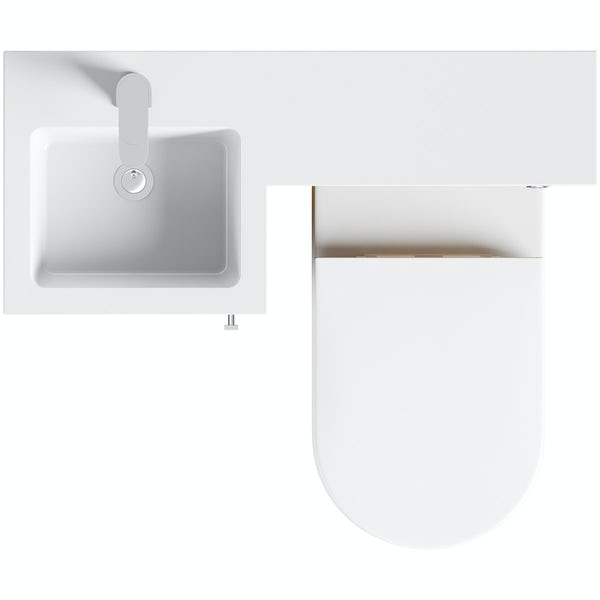 Orchard Myspace walnut left handed unit with  contemporary toilet and seat