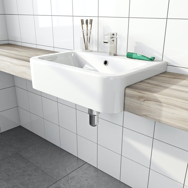 Dulwich semi recessed basin with waste