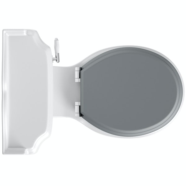 The Bath Co. Winchester close coupled toilet with grey soft close seat