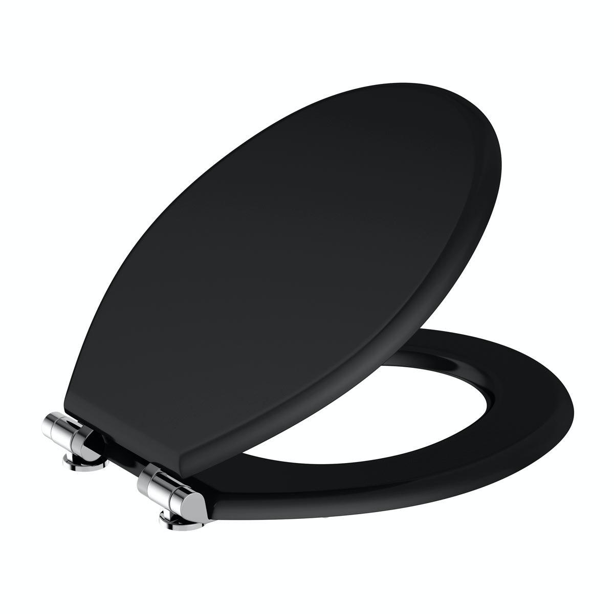black wooden soft close toilet seat. Universal Matte Black Soft Close MDF Seat Toilet  VictoriaPlum com