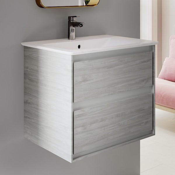 Ideal Standard Concept Air complete left hand wood light grey furniture and Idealform Plus shower bath suite 1700 x 800