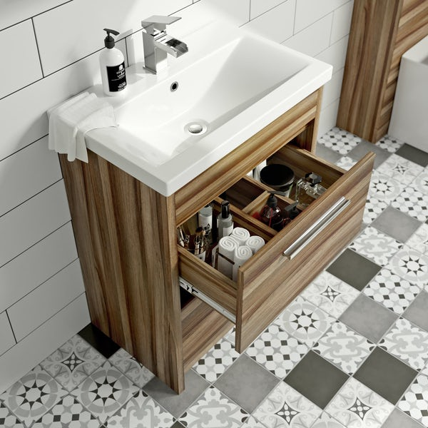 Clarity walnut vanity drawer unit with basin 600mm
