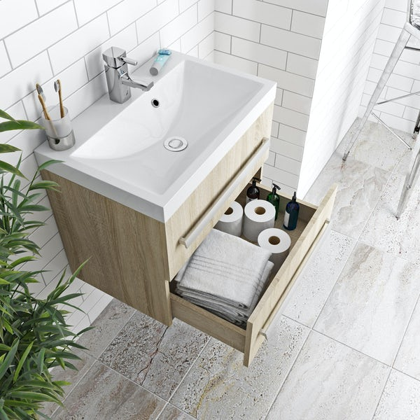 Wye oak wall hung vanity unit 600mm with basin