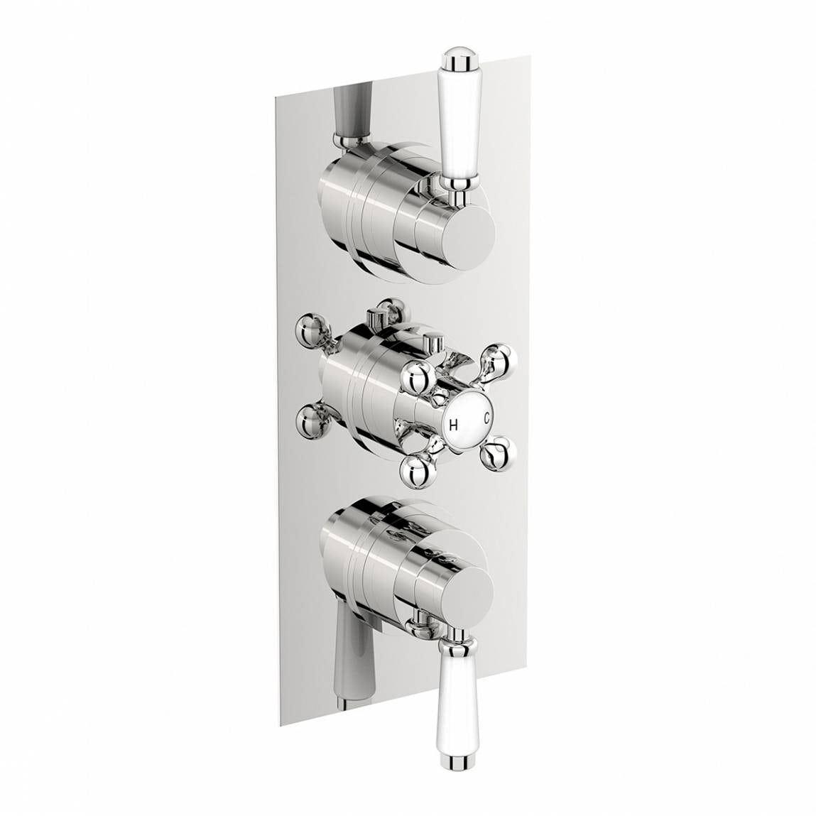 Image of The Bath Co. Traditional square triple thermostatic shower valve