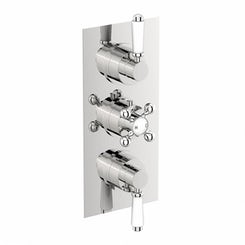 Traditional square triple thermostatic shower valve