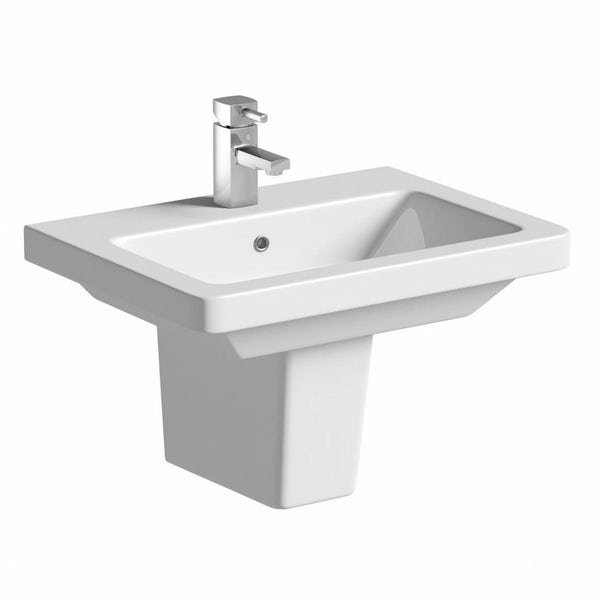 Mode Cooper cloakroom suite with semi pedestal basin 550mm with tap and waste