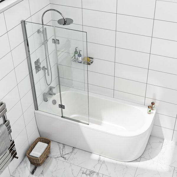 Mode 8mm square double panel hinged bath screen offer pack