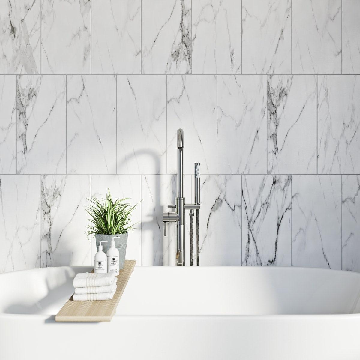Arctic white matt tile 248mm x 498mm