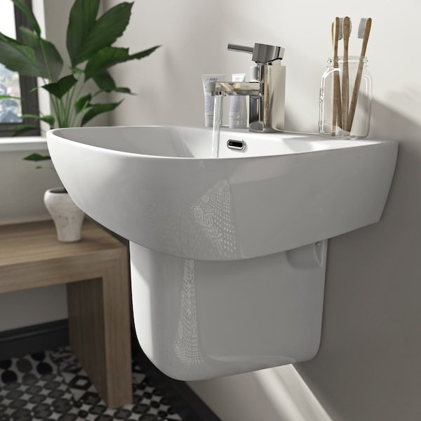 Mode Foster semi pedestal basin 600mm with waste