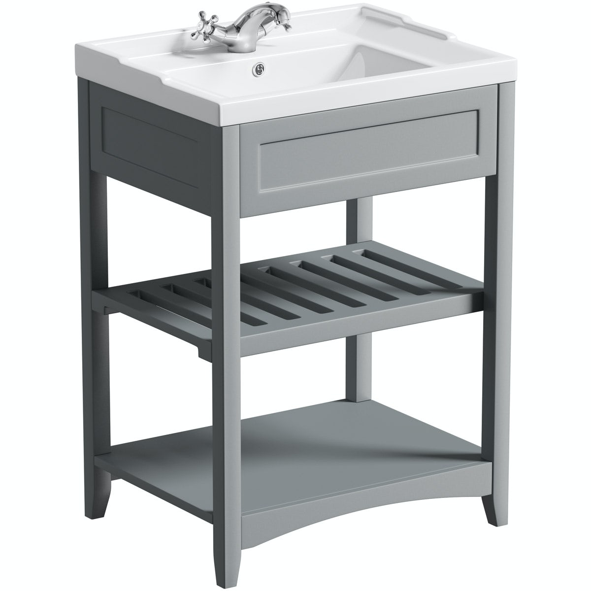 No imageThe Bath Co. Camberley satin grey washstand with traditional basin 600mm