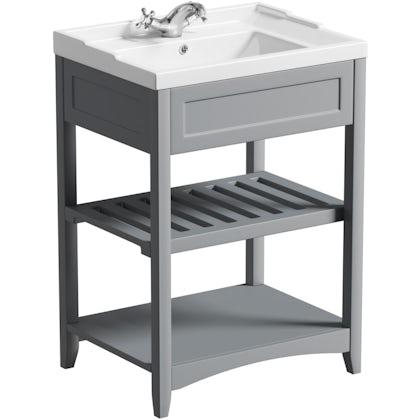 No imageThe Bath Co. Camberley satin grey washstand with traditional basin 600mm