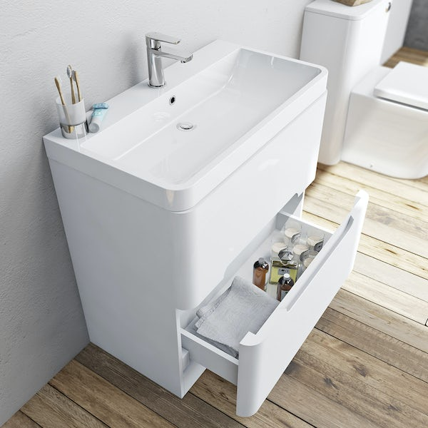 Mode Ellis white vanity drawer unit and basin 800mm