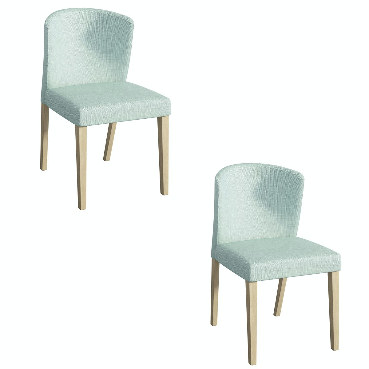 Hudson oak and light cyan pair of dining chairs