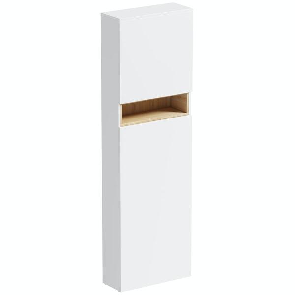 Tate White & Oak tall back to wall toilet unit