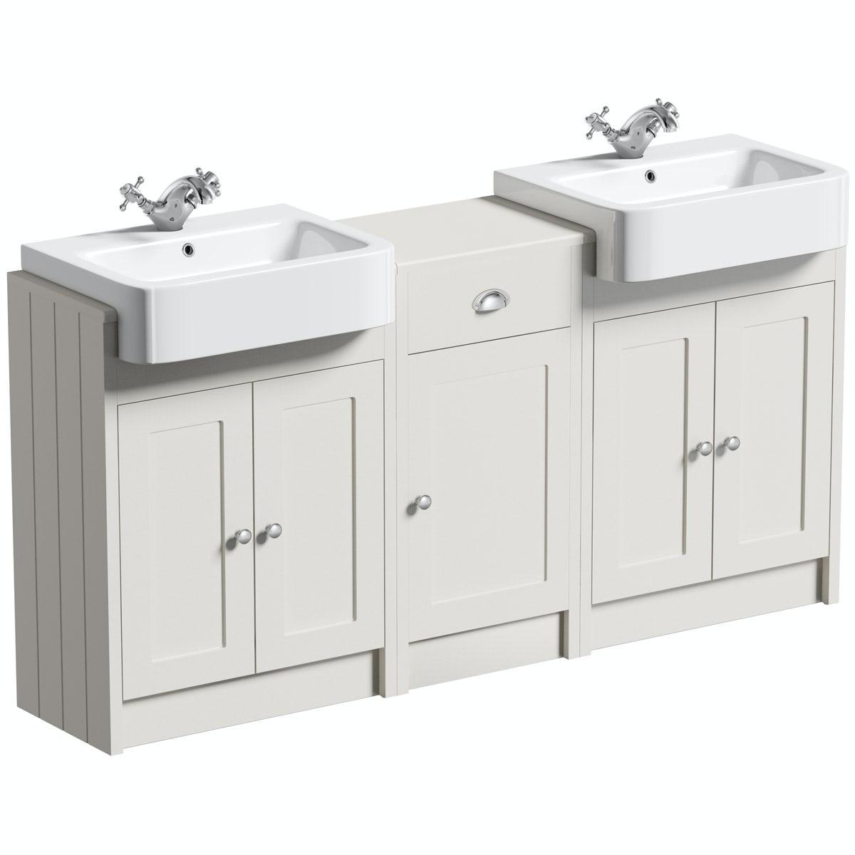 The Bath Co. Dulwich stone ivory double basin & storage combination