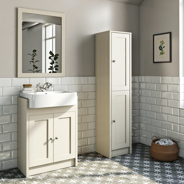 The Bath Co. Dulwich stone ivory tall storage unit