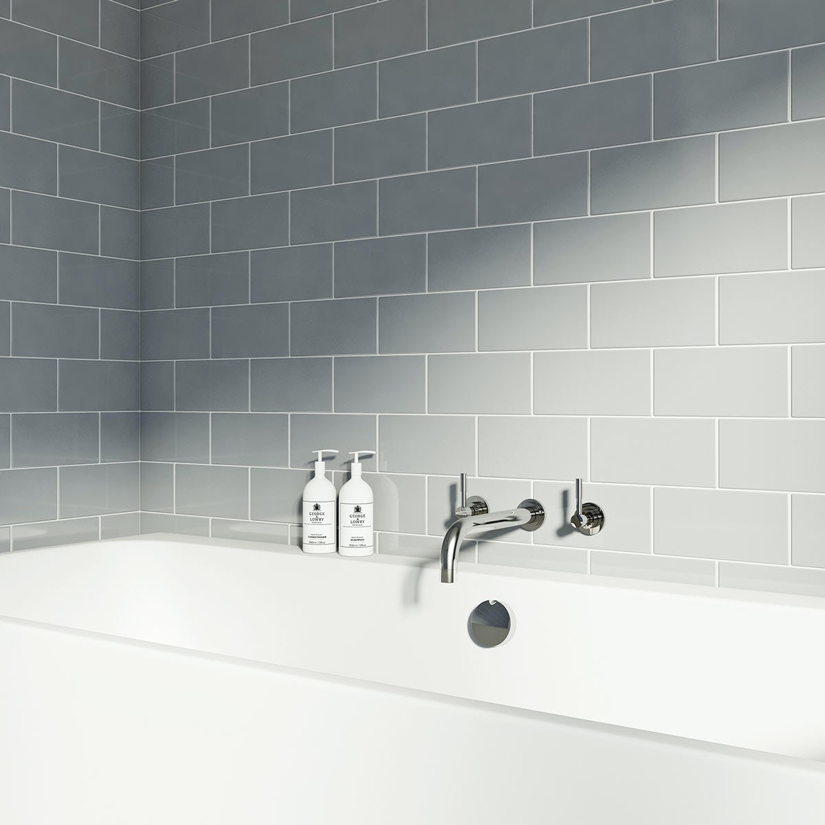 British Ceramic Tile Metro flat cloud grey gloss tile 100mm x 200mm