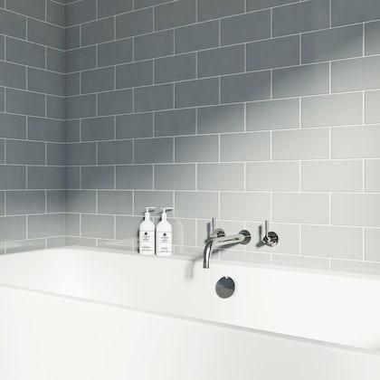 British Ceramic Tile Metro flat cloud grey gloss tile 100mm x 200mm