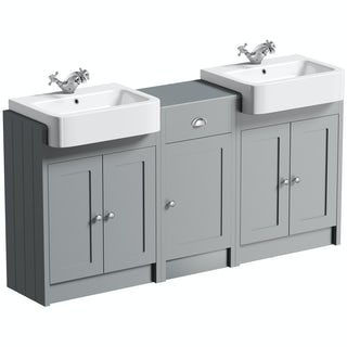 The Bath Co. Dulwich stone grey double basin & storage combination