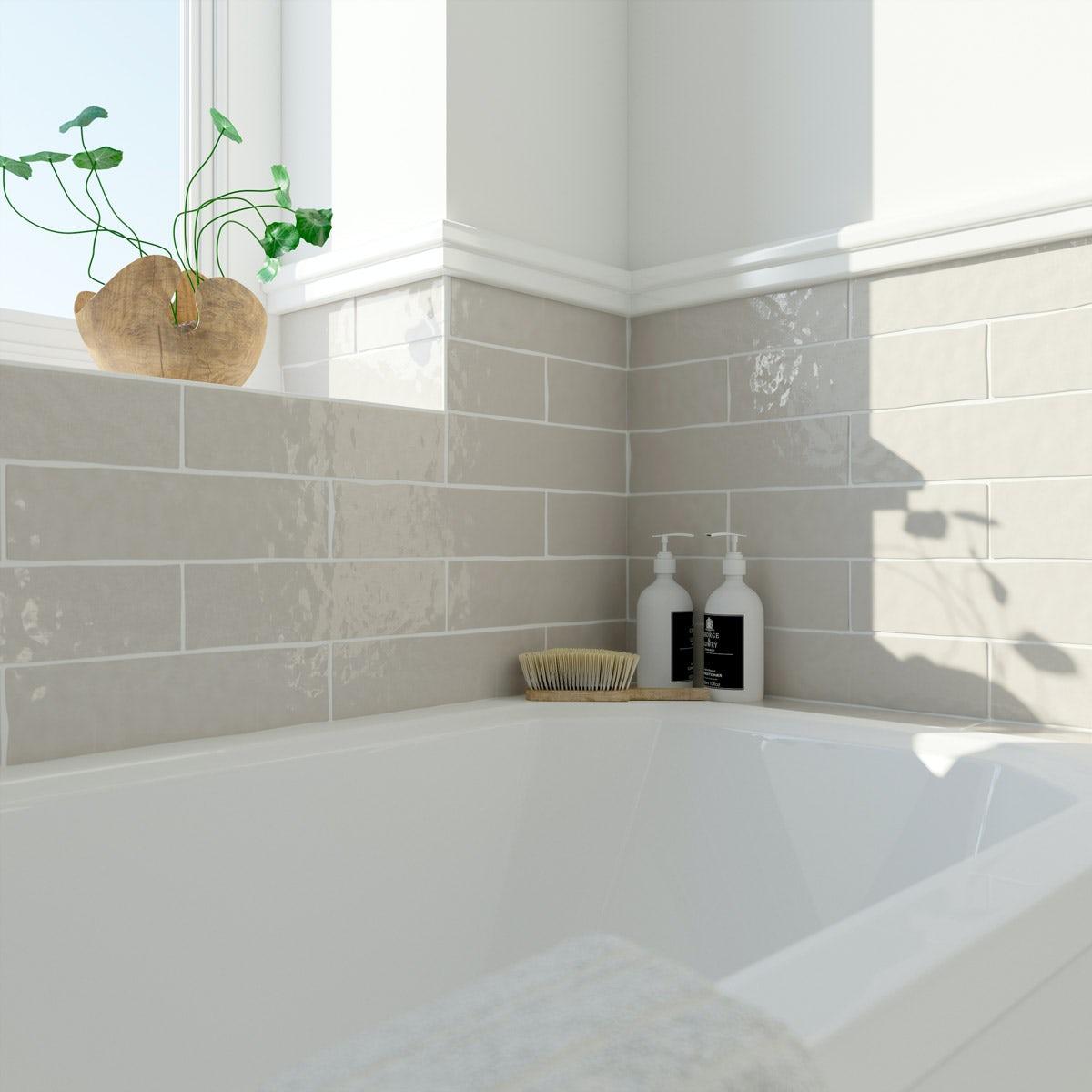 Laura Ashley Artisan cobblestone wall brown gloss tile 75mm x 300mm