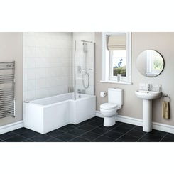 Energy Bathroom Suite with right handed Boston L shaped shower bath 1700 x 850