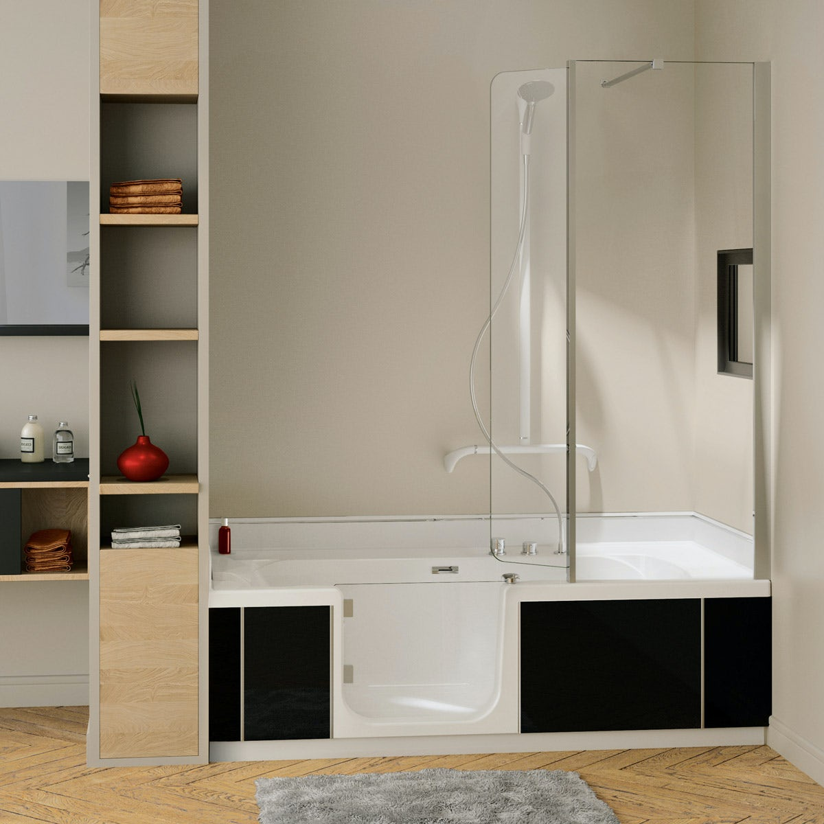 Kineduo left handed shower bath with screen and black panel 1700 x 750